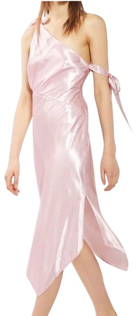 Item - White Pink Satin One-shoulder Midi Short Casual Dress Size 8 (M)