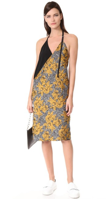 Item - Gold Black Lonia Floral Jacquard Halter Mid-length Night Out Dress Size 2 (XS)
