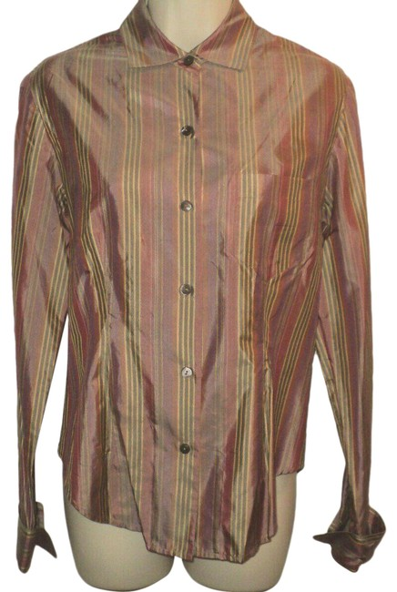 Item - Mauve Tan Gray Buttoned Front Stripes Long Sleeves Silk Blouse Size 4 (S)