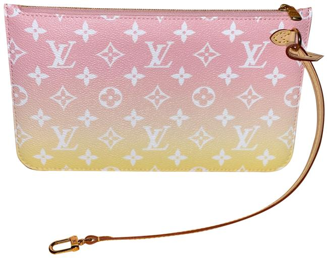 Item - Neverfull Pouch/Wristlet Monogram By The Pool Pink/Yellow Coated Canvas Wristlet