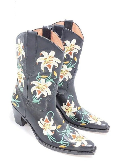 Item - Black and White Limited Edition Cowboy Lilly Boots/Booties Size US 8 Regular (M, B)