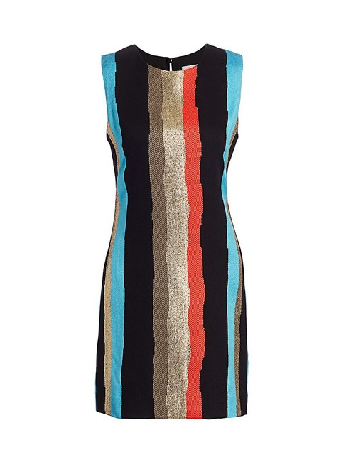 Item - Multicolor Graphic Striped Tweed Shift Short Casual Dress Size 8 (M)