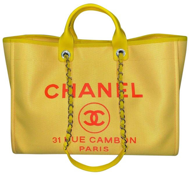 Item - Deauville Tote 21s Orange Xlarge Shopping 30cm 2 Way Silver Chain Yellow Canvas Shoulder Bag