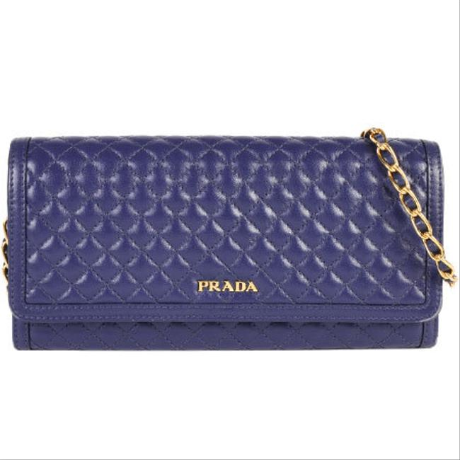 Item - Blue Chain Long Bi-fold Calf Leather Quilted 1mt290 Wallet
