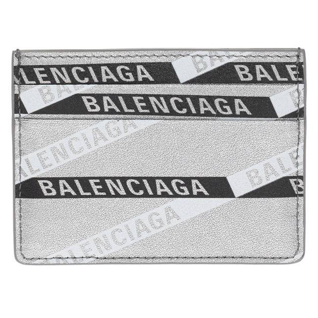 Item - Silver New Leather Printed Logo Card Holder Card Wallet