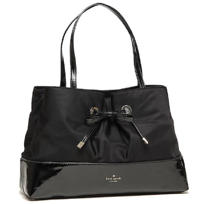 Item - New Small Maryanne West Valley Tote Black- Silver Nylon Canvas - Patent Leather Satchel