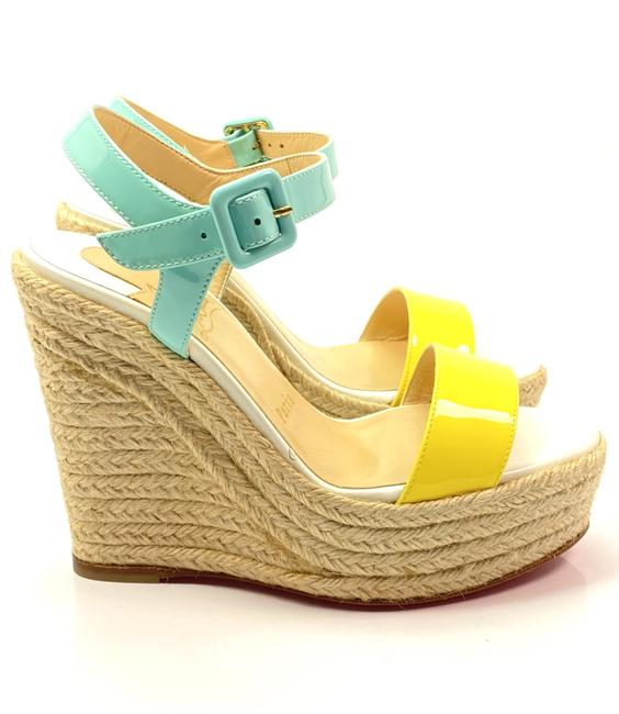 Item - Yellow Green Un Bout 100 Fluo Patent Leather Heels Pumps Wedges Size EU 35 (Approx. US 5) Regular (M, B)
