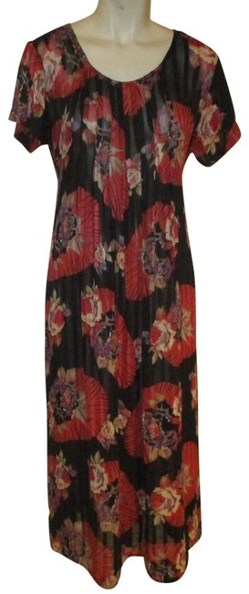 Item - Black Red Multi Vintage Sheer Mid-length Night Out Dress Size 6 (S)
