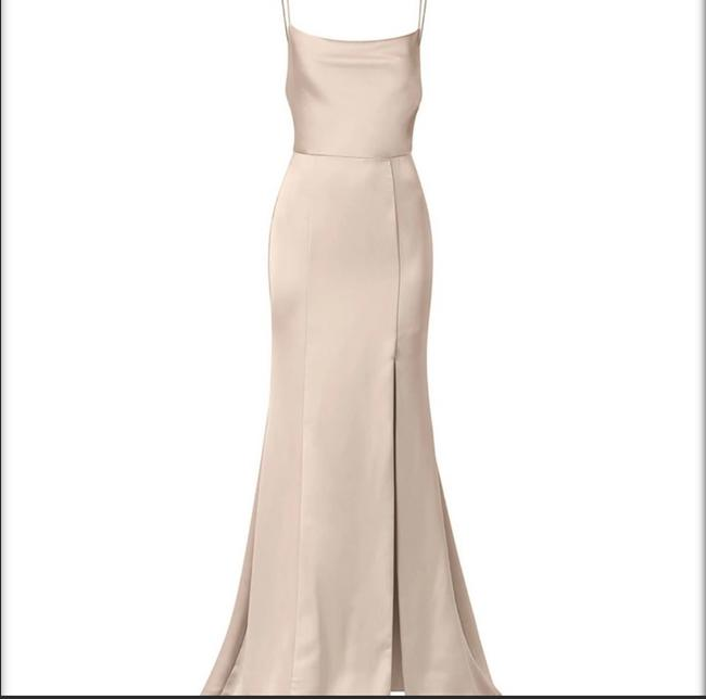 "Item - Champagne Satin ""chloe"" Gown Formal Bridesmaid/Mob Dress Size 4 (S)"