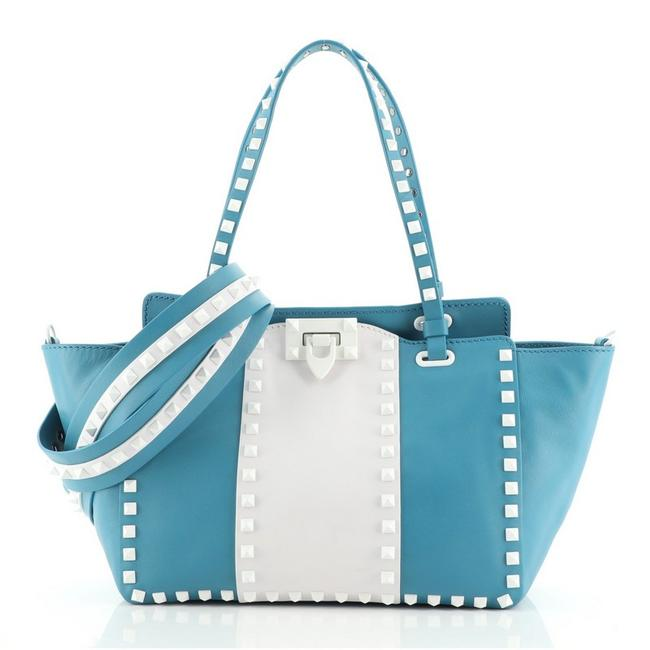 Item - Free Rockstud Soft Small Blue Multicolor White Leather Tote