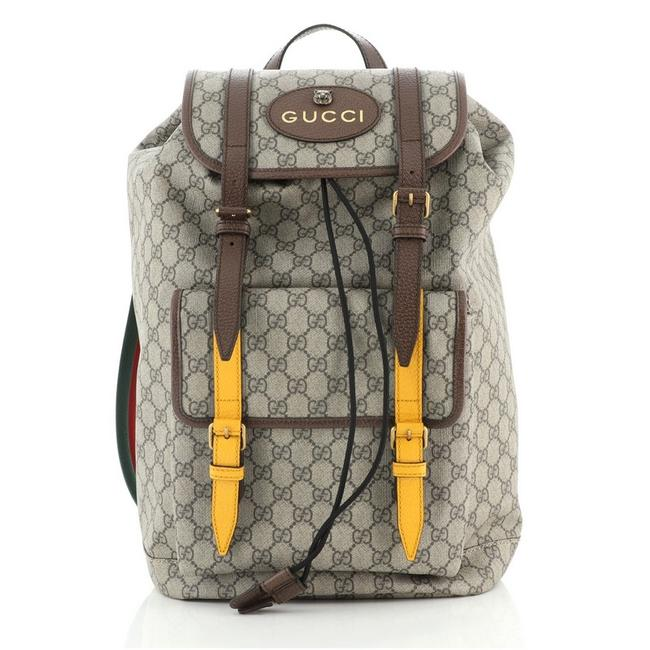 Gucci Courrier Soft Gg Large Brown Yellow Canvas (Coated) Backpack Gucci Courrier Soft Gg Large Brown Yellow Canvas (Coated) Backpack Image 1