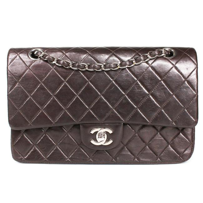 Item - Double Flap Medium Quilted Chain Chocolate Brown - Silver Lambskin Leather Shoulder Bag