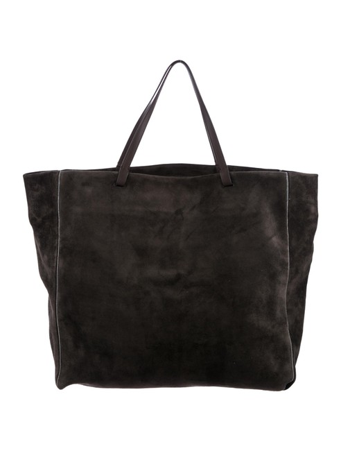 Item - Leather-trimmed Charcoal Gray Suede Leather Tote