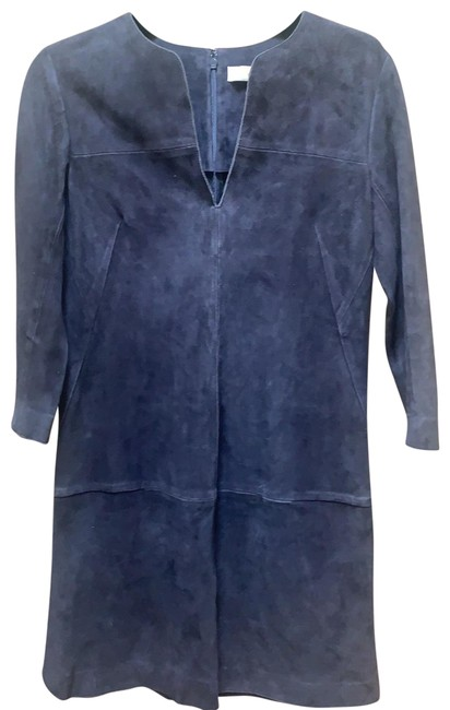 Item - Grey-ish Navy Suede Mid-length Tunic Short Casual Dress Size 0 (XS)
