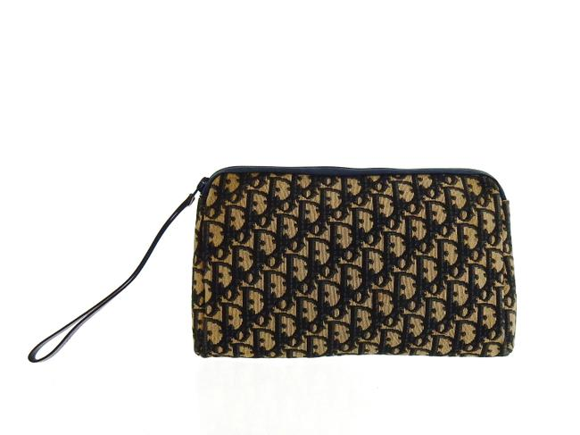 Item - Navy Blue and Beige Toiletry Trotter Monogram Canvas Leather Travel Cosmetic Bag