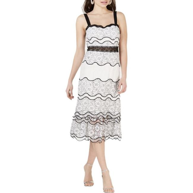 Item - White Foxiedox Black Lace Midi Tiered Mid-length Cocktail Dress Size 8 (M)