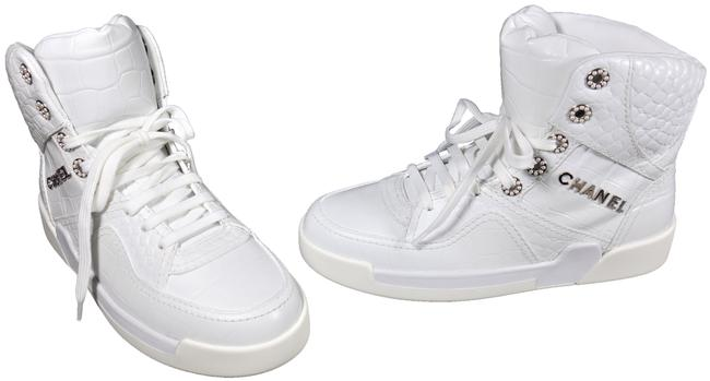 Item - White 6.5 Crocodile Embossed Leather Lace Up High Top Trainers New Sneakers Size EU 37 (Approx. US 7) Regular (M, B)