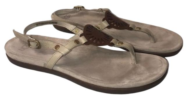 Item - Cream and Brown Suede T-strap Flat Travel Sandals Size US 9.5 Regular (M, B)