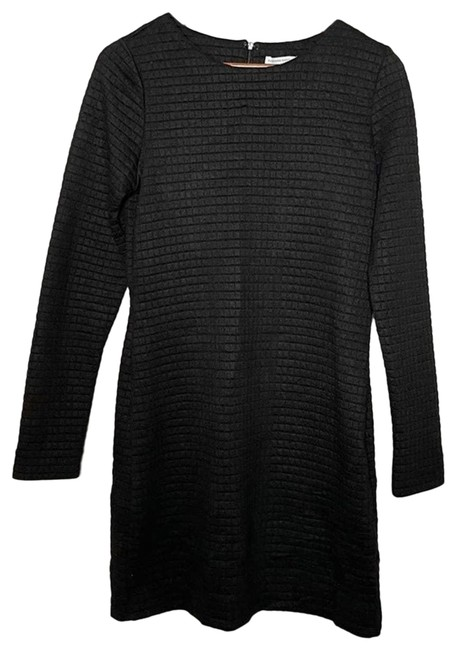 Item - Black Quilted Textured Work/Office Dress Size 6 (S)