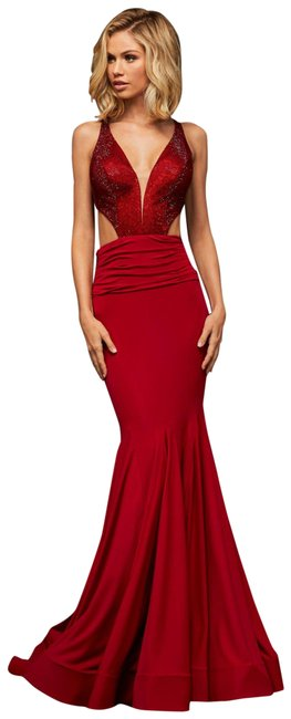 Item - Red Cutout Waist Prom Gown Long Formal Dress Size 0 (XS)