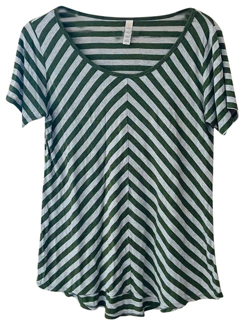 Item - Green Chevron Striped Classic Tee Small Blouse Size 4 (S)