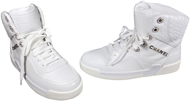 Item - White 38.5/8 Crocodile Embossed Lace Up High Top New Sneakers Size EU 38.5 (Approx. US 8.5) Regular (M, B)