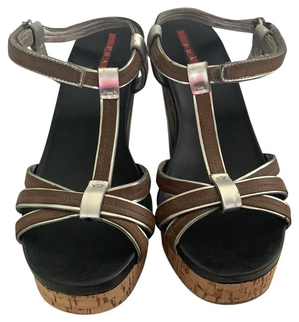 Item - Black Silver and Brown 3x4710 Wedges Size EU 36.5 (Approx. US 6.5) Narrow (Aa, N)