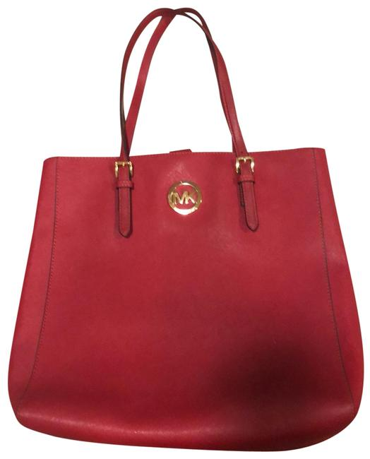 Item - Jet Set North South Dark Red Leather Tote