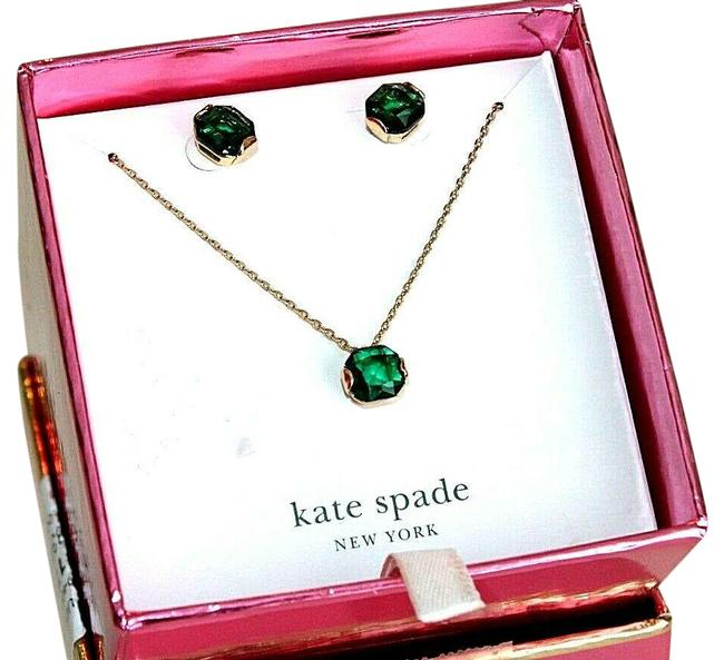 Item - New New York Emerald Crystal & Earrings Set Necklace