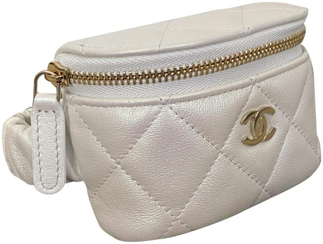 Item - Iridescent Quilted Lamb Cc Logo Arm Coin Purse Ankle Pouch White Lambskin Leather Shoulder Bag
