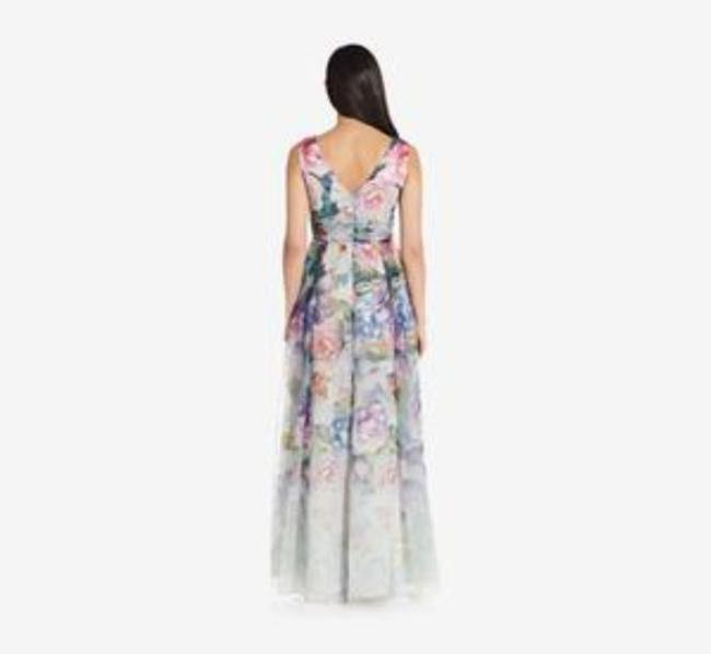 Adrianna Papell Ivory Multi Draped V-neck Gown Long Formal Dress Size 10 (M) Adrianna Papell Ivory Multi Draped V-neck Gown Long Formal Dress Size 10 (M) Image 2