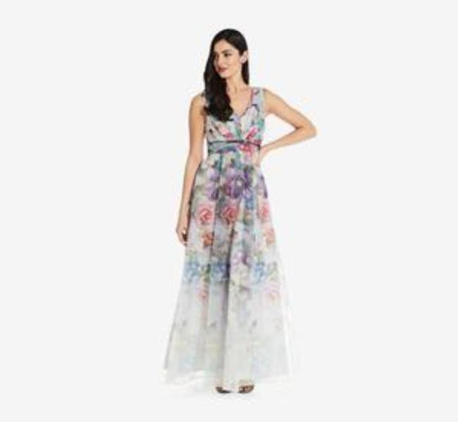 Adrianna Papell Ivory Multi Draped V-neck Gown Long Formal Dress Size 10 (M) Adrianna Papell Ivory Multi Draped V-neck Gown Long Formal Dress Size 10 (M) Image 3