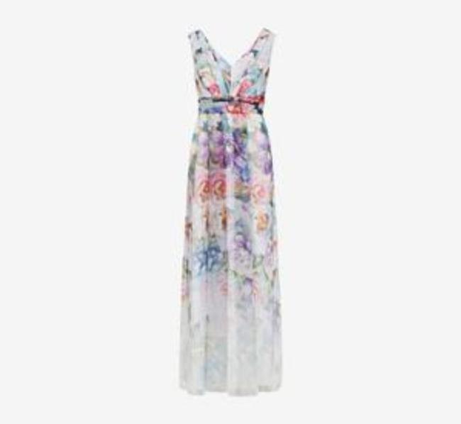 Adrianna Papell Ivory Multi Draped V-neck Gown Long Formal Dress Size 10 (M) Adrianna Papell Ivory Multi Draped V-neck Gown Long Formal Dress Size 10 (M) Image 6