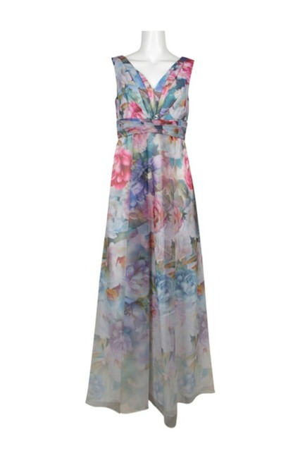 Adrianna Papell Ivory Multi Draped V-neck Gown Long Formal Dress Size 10 (M) Adrianna Papell Ivory Multi Draped V-neck Gown Long Formal Dress Size 10 (M) Image 7