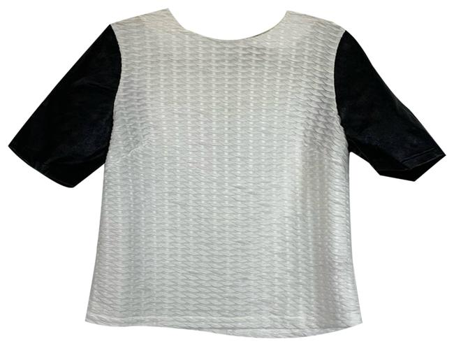 Item - White Faux Leather Sleeves Crop Sm Blouse Size 6 (S)