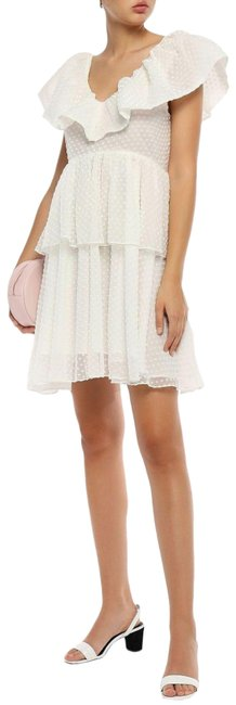 Item - White Ivory Seersucker Tiered Ruffle Mini Fit and Flare Mini Short Cocktail Dress Size 6 (S)