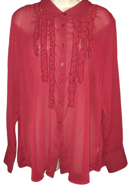 Item - Dark Red New Sheer Ruffled Front Long Sleeves Crinkled Look Blouse Size 16 (XL, Plus 0x)