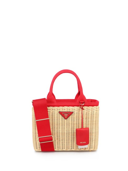Item - Wicker Red Canvas & Straw Tote