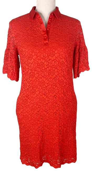 Item - Red Lace Flutter Sleeves Polo Small Short Casual Dress Size 6 (S)