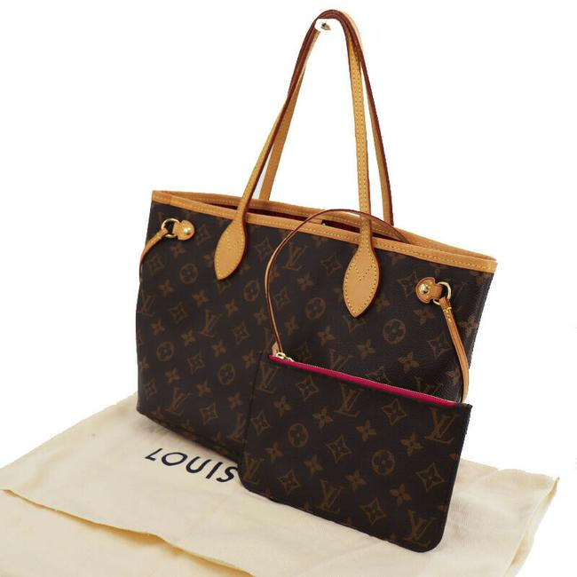 Item - Neverfull Rare Pm Monogram with Pink Pivone with Wallet Pouch Brown Canvas Tote