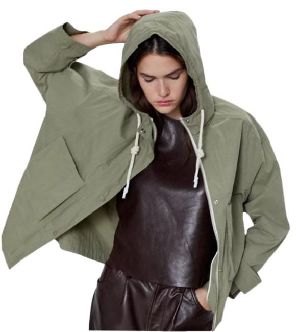 Item - Green Water Repellent High Collar Parka with Hood Jacket Size 0 (XS)