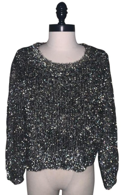Item - Moth Fuzzy Metallic Sparkly Silver Gold Sweater