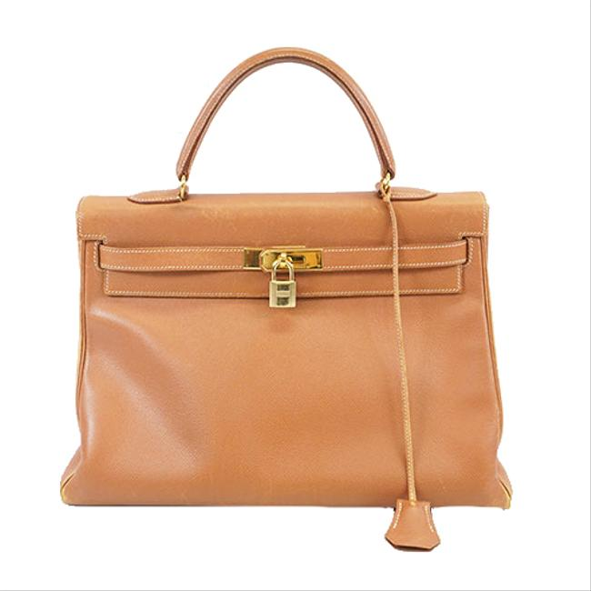 Item - Kelly 35 □b Stamp Women's Handbag Gold Courchevel Leather Satchel