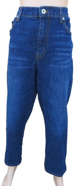 Item - Blue Medium Wash High Waist Straight Leg Dark Denim 14/32 Boyfriend Cut Jeans Size 35 (14, L)