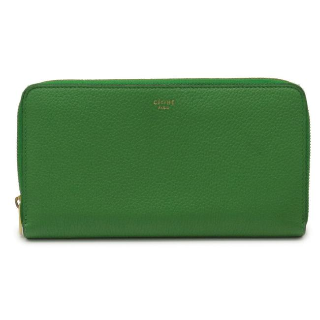 Item - Green Large Zipped Multifunction Round Zipper Leather Gold Hardware 103973xfl Wallet