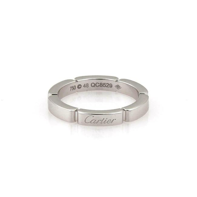 Item - #55905 Maillon Panthere 18k White Gold 1 Row Band Size 48-us 4.5 Cert Ring