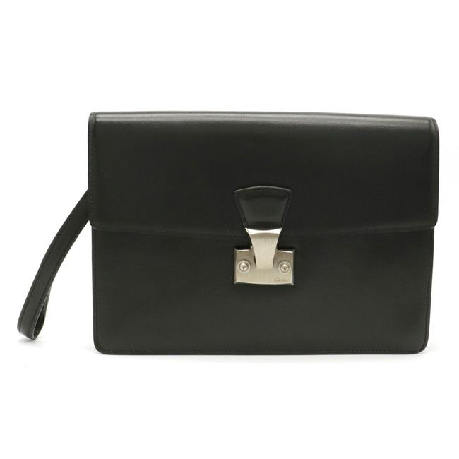 Item - Pasha Line Calf Silver Hardware L1000230 Black Leather Clutch