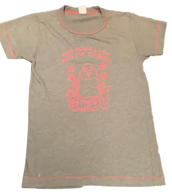 Item - Grey For Good Luck Rub My Tummy Buddha Medium Tee Shirt Size 8 (M)