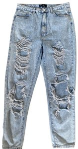 Missguided Straight Leg Jeans-Distressed