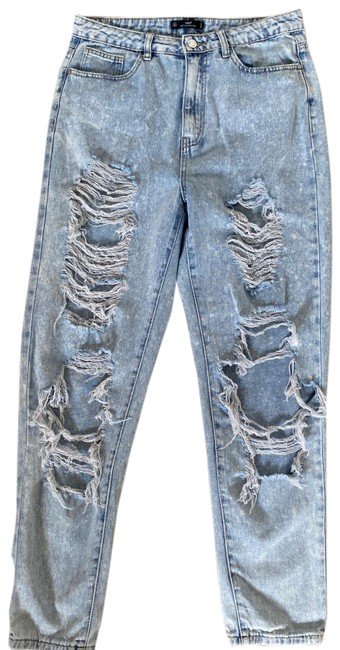 Missguided Blue Distressed Riot Straight Leg Jeans Size 8 (M, 29, 30) Missguided Blue Distressed Riot Straight Leg Jeans Size 8 (M, 29, 30) Image 1